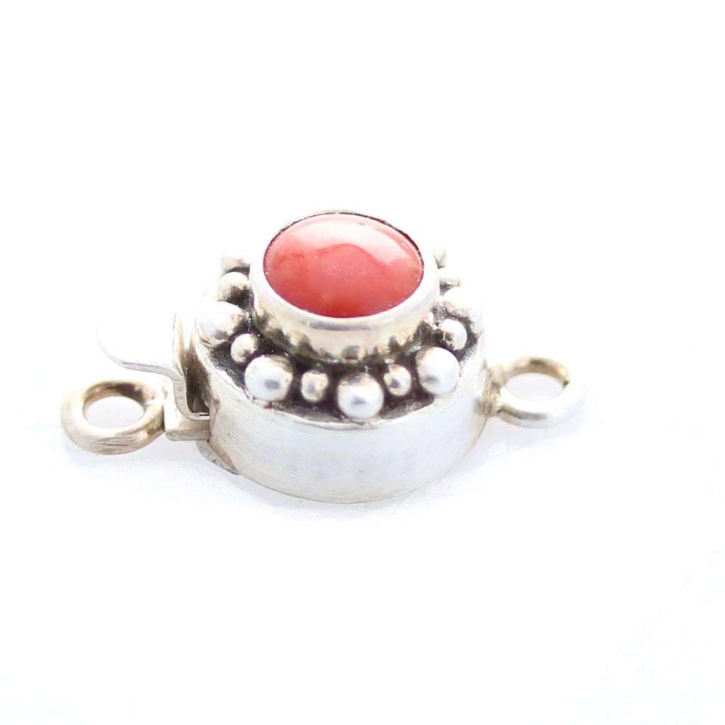 Beautiful Coral Clasp 8mm Dot Design  Sterling Round
