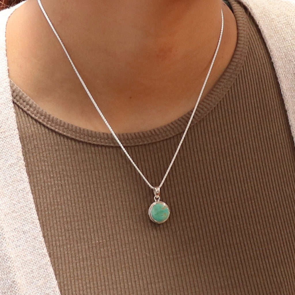 ROYSTON TURQUOISE Sterling Silver Pendant Small Green Southwest