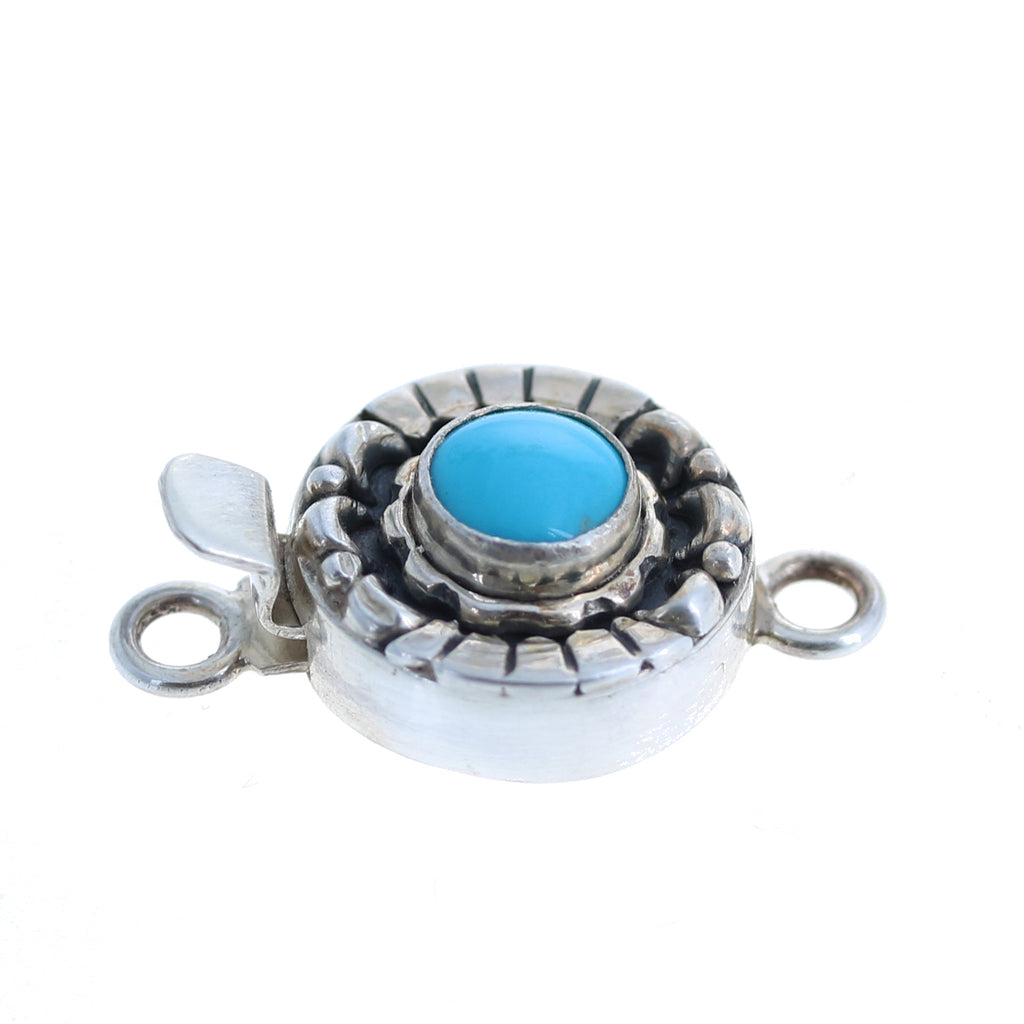 SLEEPING BEAUTY TURQUOISE Clasp Sterling Moon Petal 7.5mm