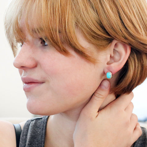 KINGMAN TURQUOISE EARRINGS Cushion Shape Post Style