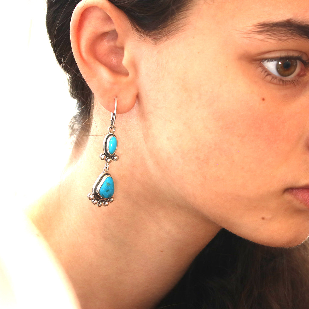 Morenci Turquoise Earrings 2 Stones Sterling Deep Blue