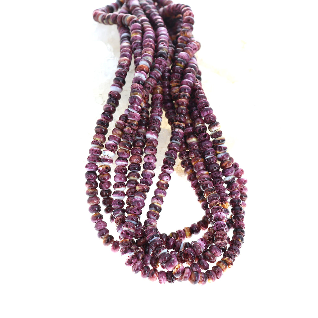 Deep Purple Spiny Oyster Beads 6mm Rondelles