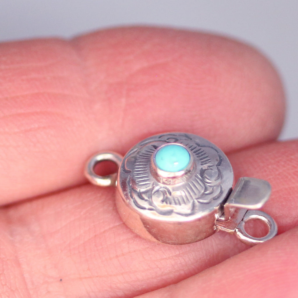 TURQUOISE CLASP Round Sterling Cloud Design