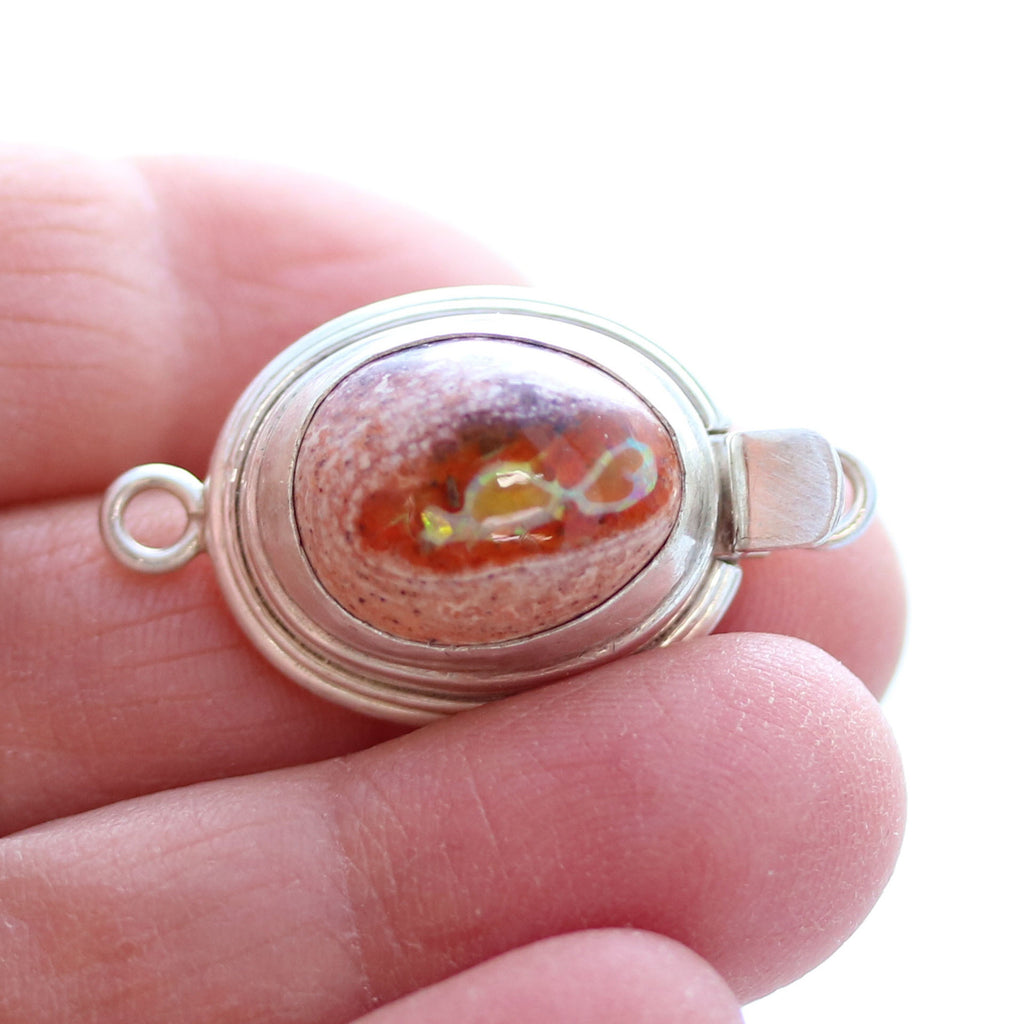 MEXICAN OPAL CLASP LARGE Orange Oval Sterling #2