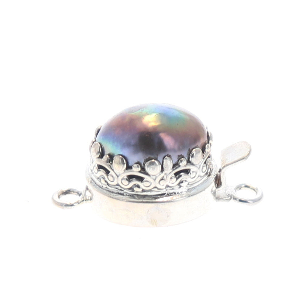 PEARL CLASP PURPLE Keishi 15x12mm Sterling