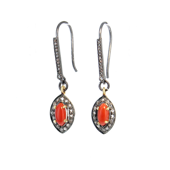 PAVE DIAMOND CORAL Earrings Sterling Silver