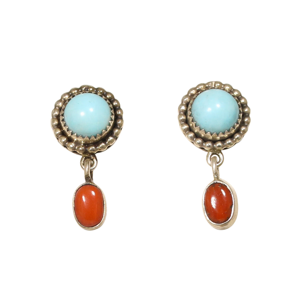Coral and Sleeping Beauty TURQUOISE EARRINGS Hoops