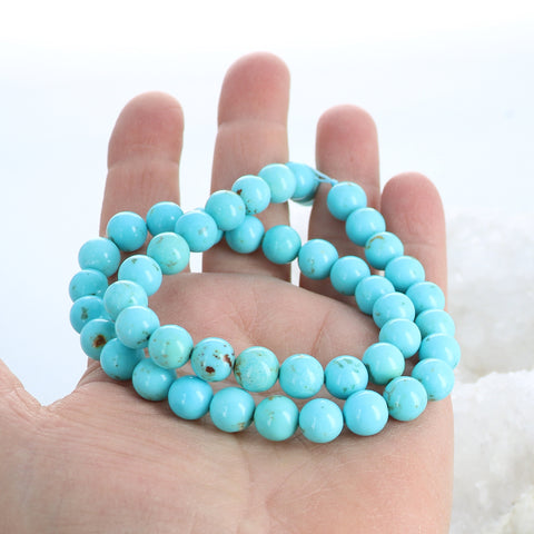 AAA CAMPITOS Mexican Turquoise Beads Blue 8.7mm Rounds
