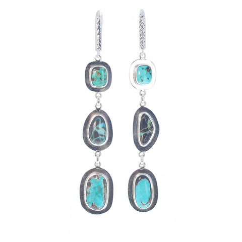 CARICO LAKE TURQUOISE Earrings 3 Stone Southwest Style 3.75""