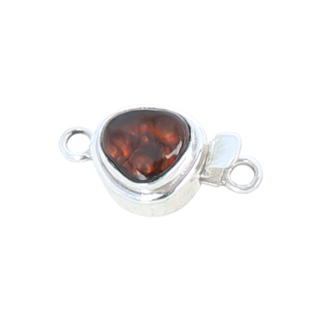 Fire Agate Clasp Free Form Sterling Red and Green Fire