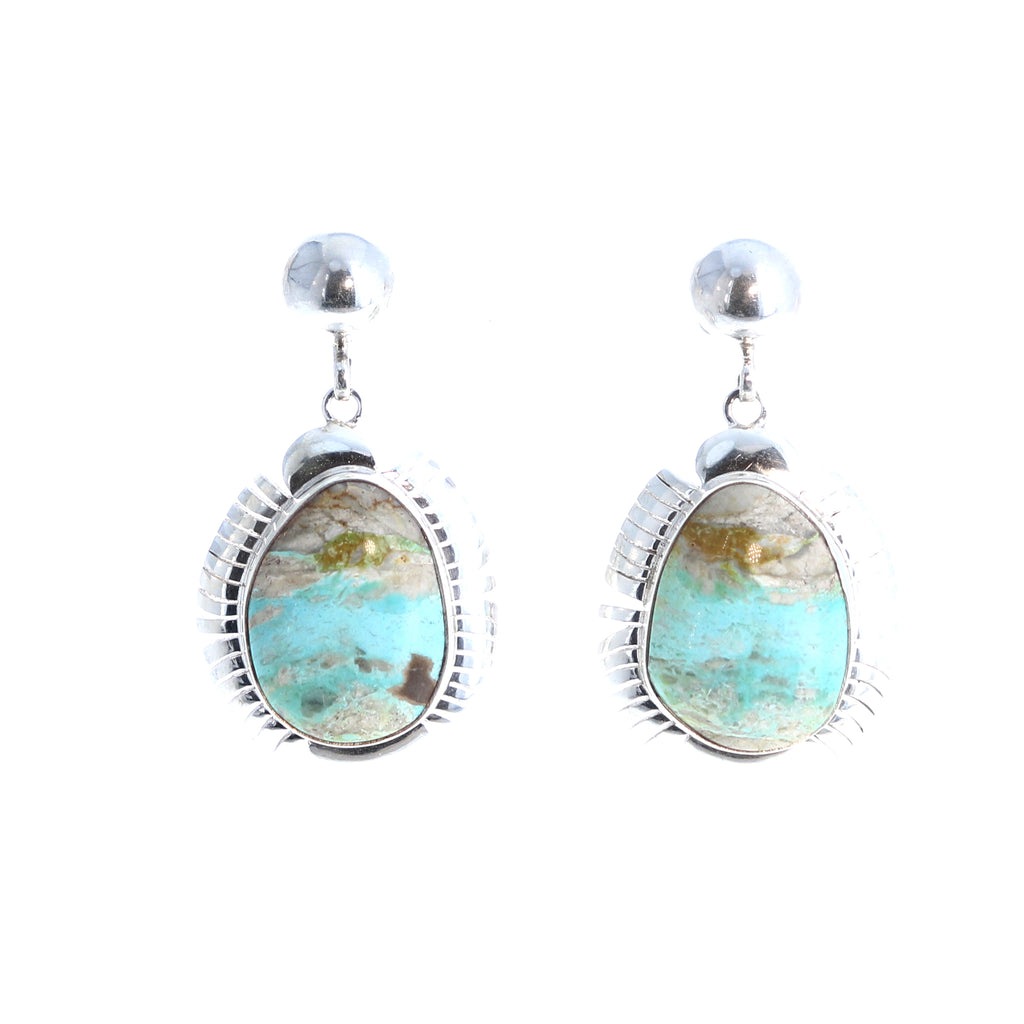 Pastel ROYSTON Turquoise Earrings Feathered Sterling Post