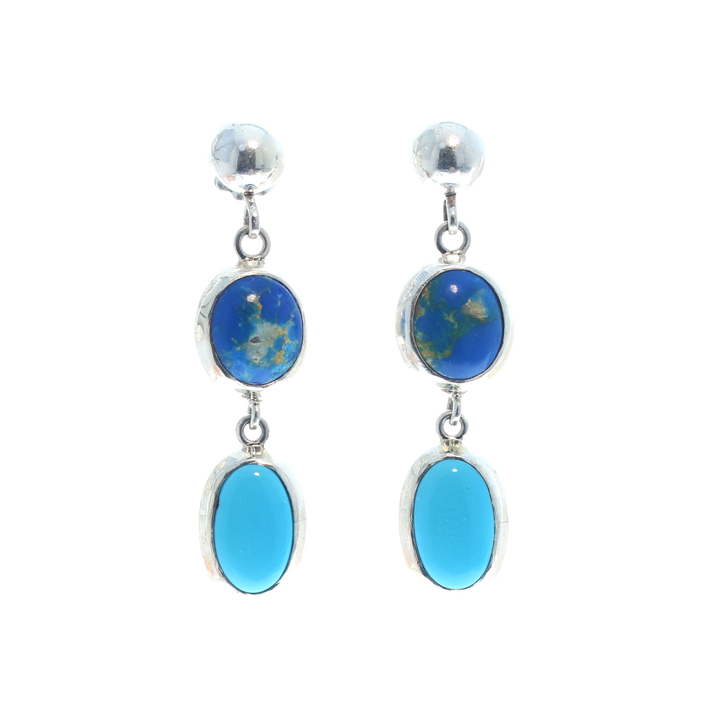Sleeping Beauty Turquoise and Ceruleite Earrings Sterling