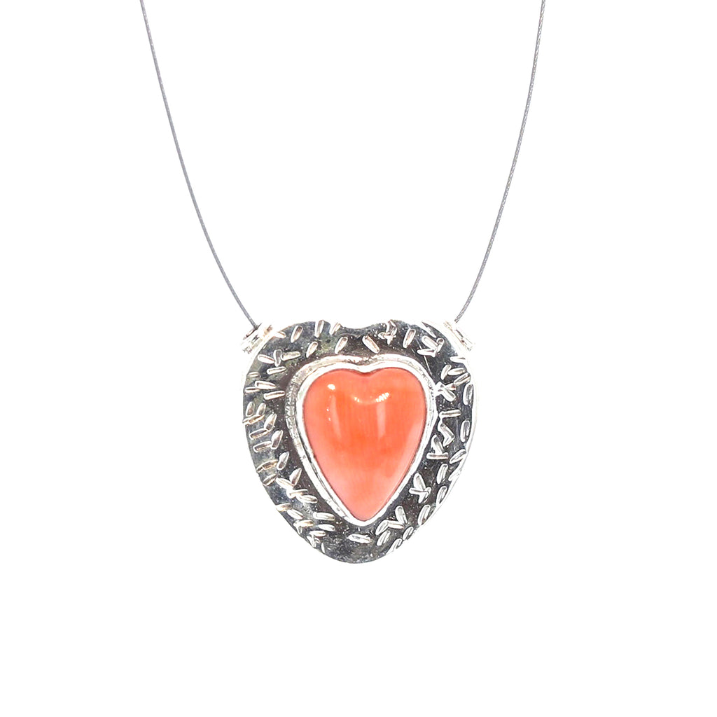 ITALIAN SALMON CORAL Heart Pendant Bead Sterling Component