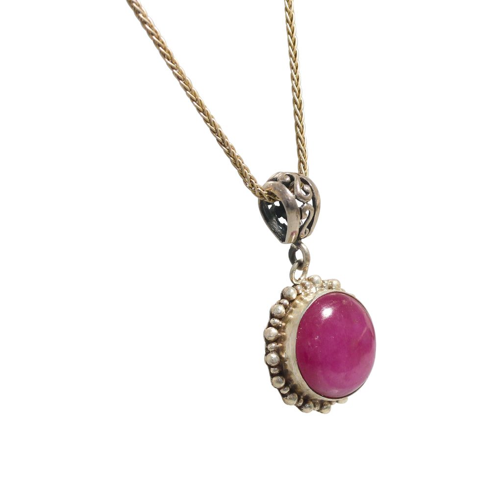 RUBY PENDANT STERLING Necklace Round 18mm 16""