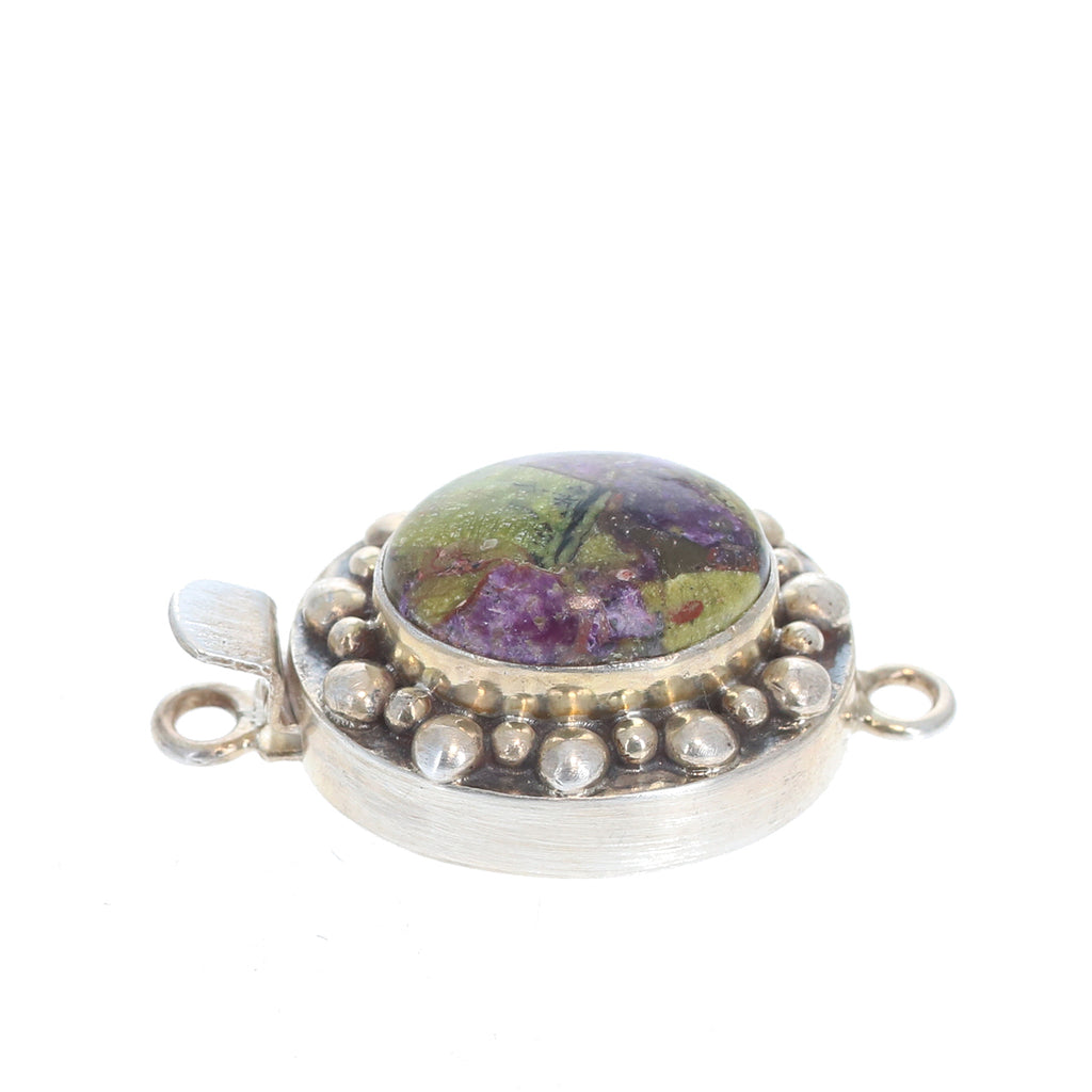 STICHTITE CLASP Sterling Silver Purple and Green Ball Design 17x12