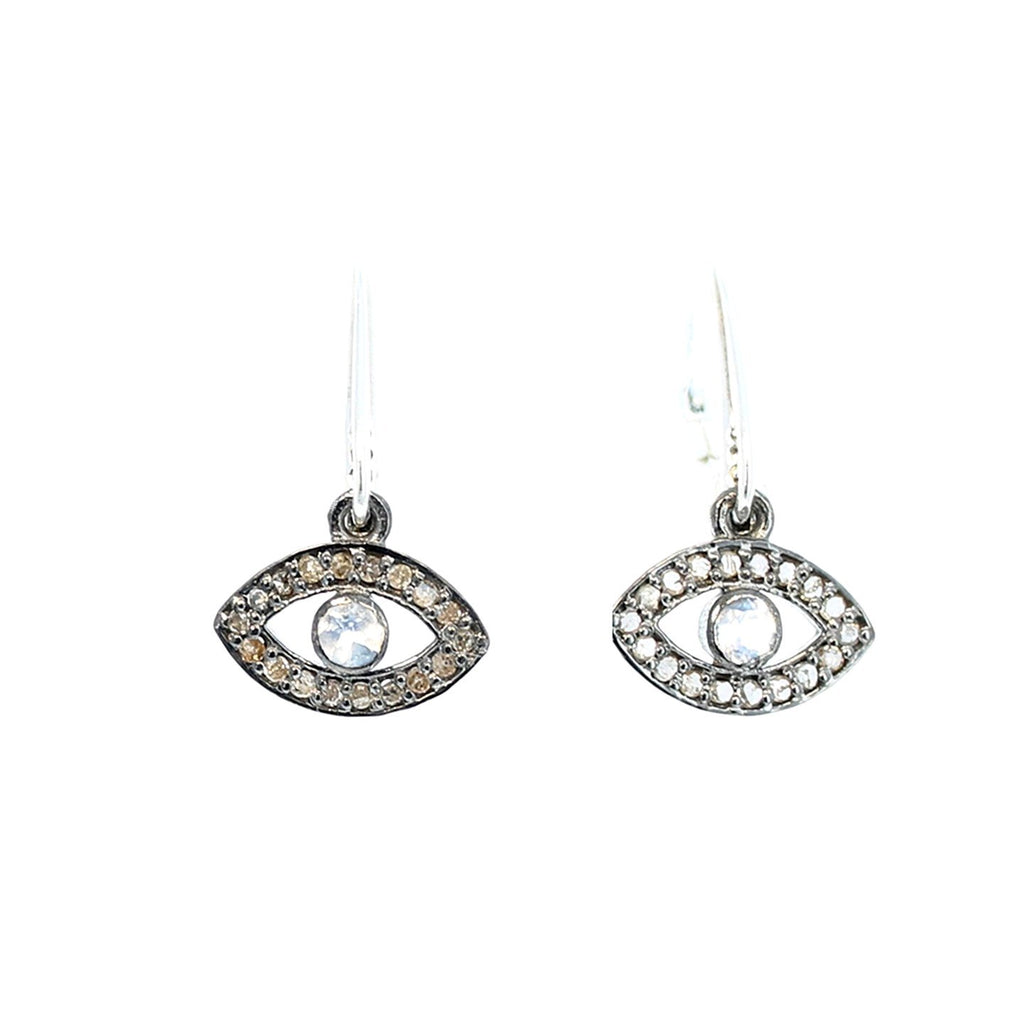 PAVE DIAMOND EARRINGS Sterling Silver Evil Eye 1.25""