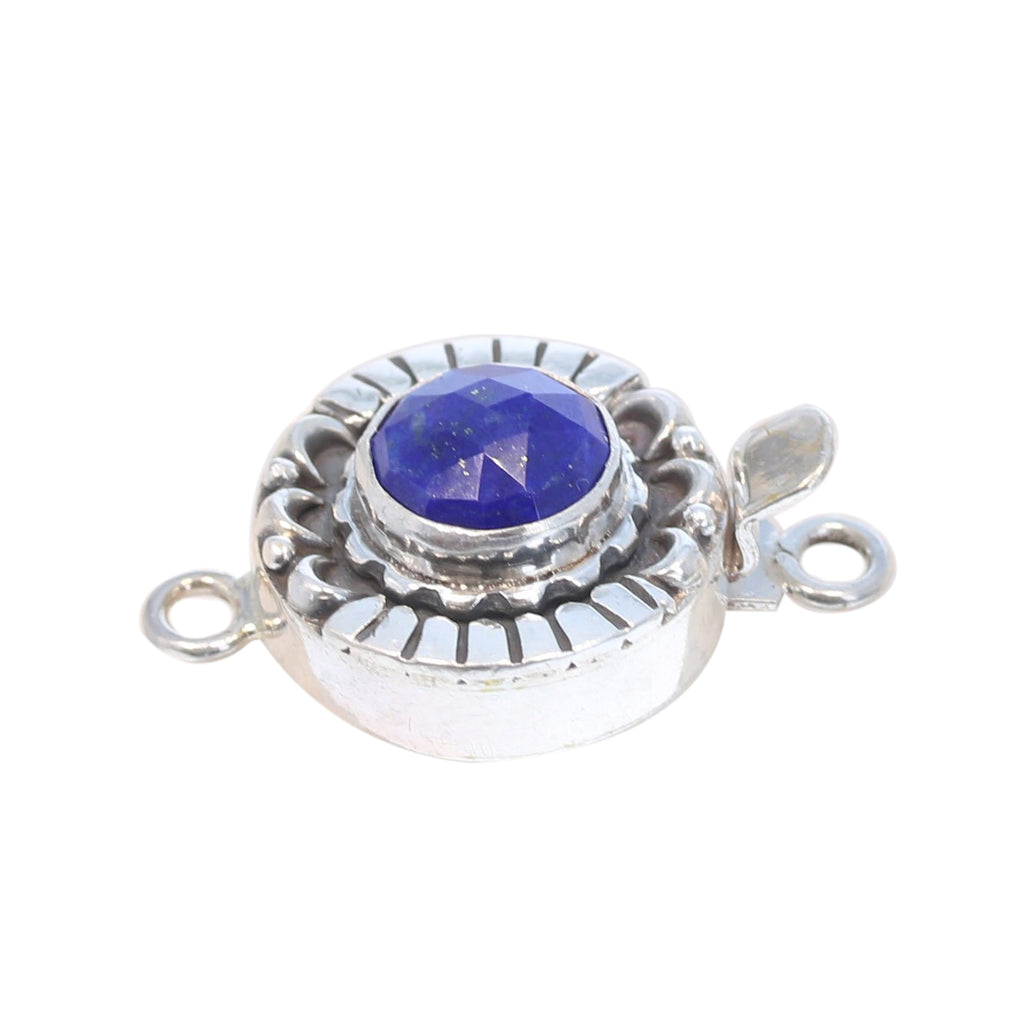 LAPIS CLASP Faceted Rose Cut Sterling Moon Petal Design