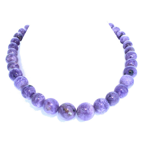 "AAA CHAROITE BEADS Round Necklace 19"" 12-19mm"