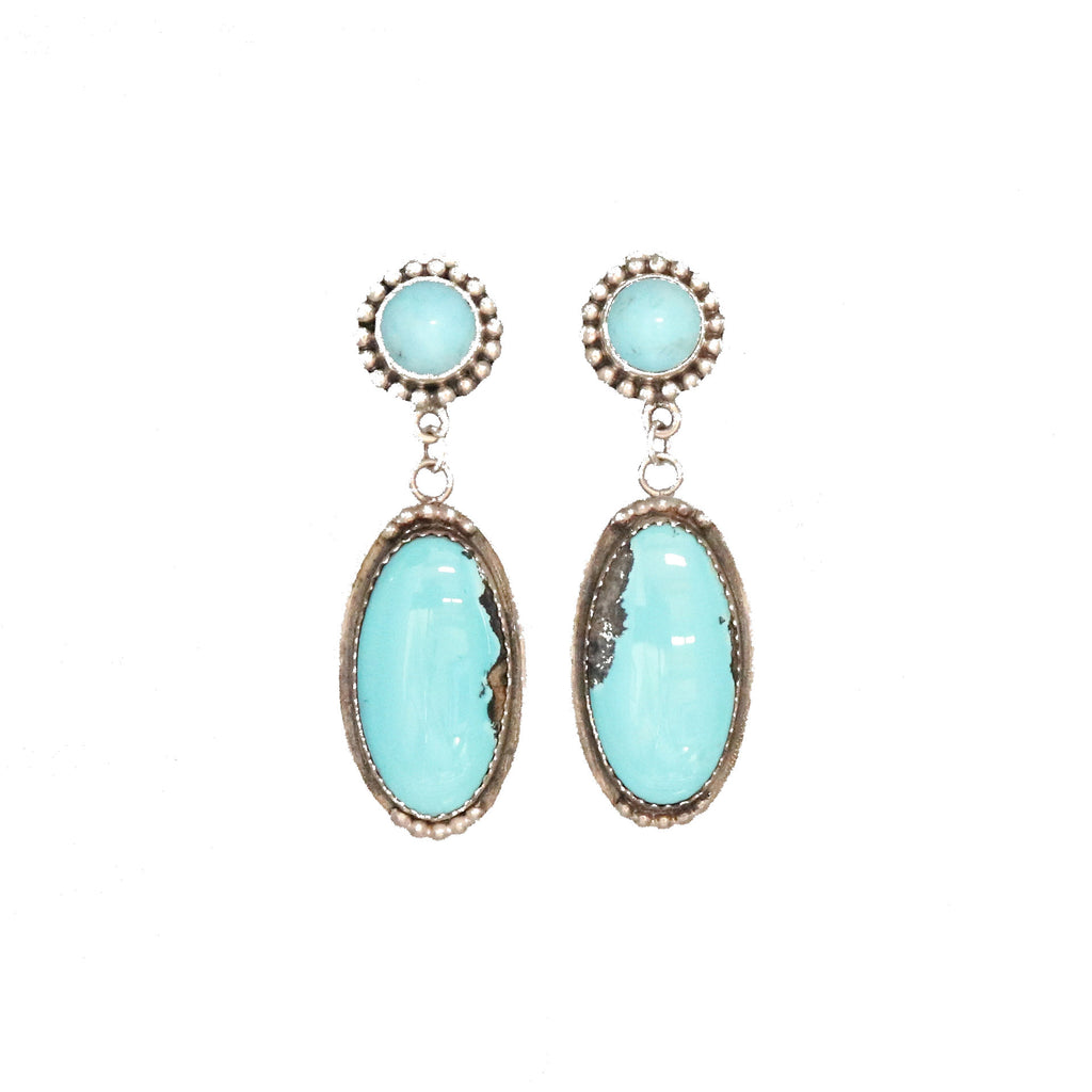 MEXICAN TURQUOISE EARRINGS Sterling Southwest Style