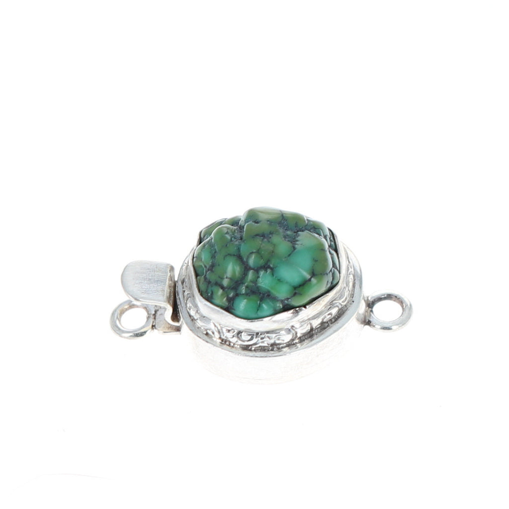 GREEN CHINESE TURQUOISE Clasp Sterling Free Form