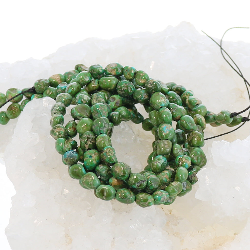 Sonoran Gold Turquoise Beads Lime Green Blue 5-7mm Rounded Shape