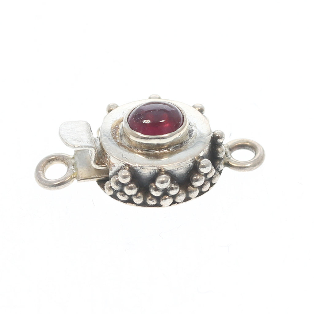 Faceted Garnet Clasp Sterling Granulated Oval 4x5mm