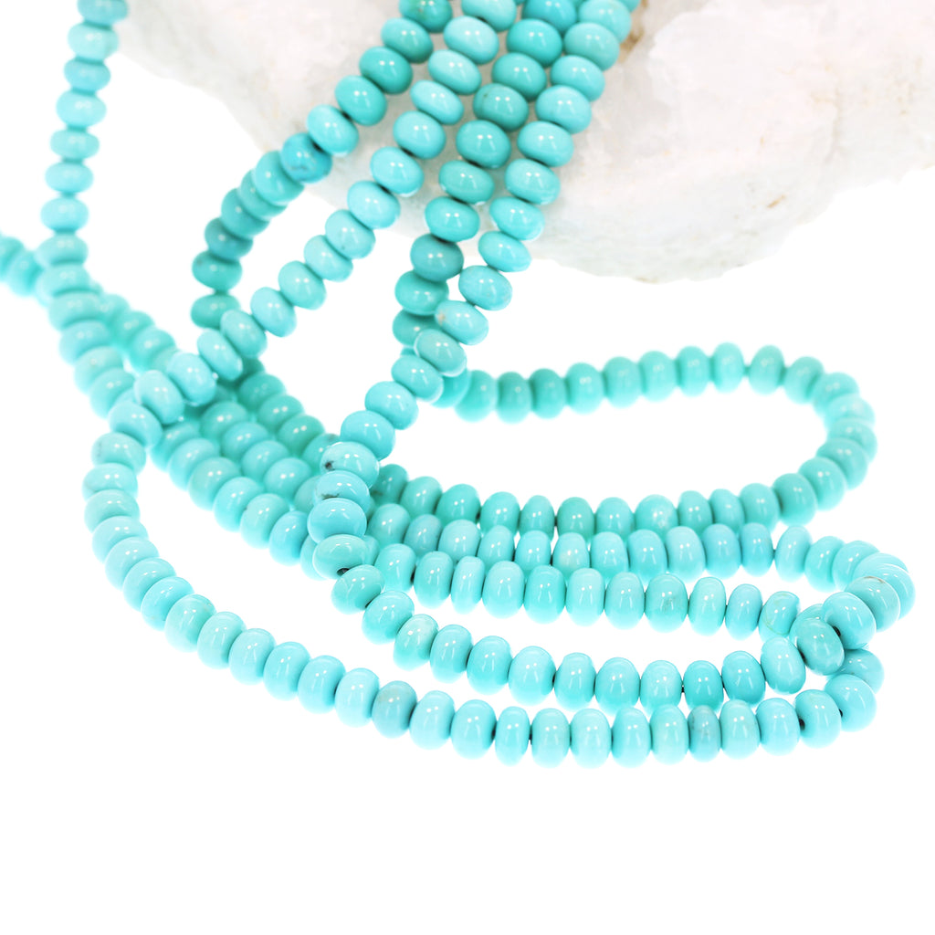 AAA Campitos MEXICAN TURQUOISE 6mm Rondelle Beads Robins Egg Blue