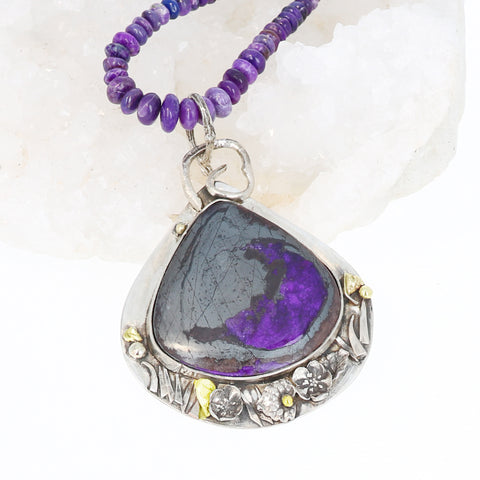 AAA SUGILITE Necklace Sterling and Gold Pendant