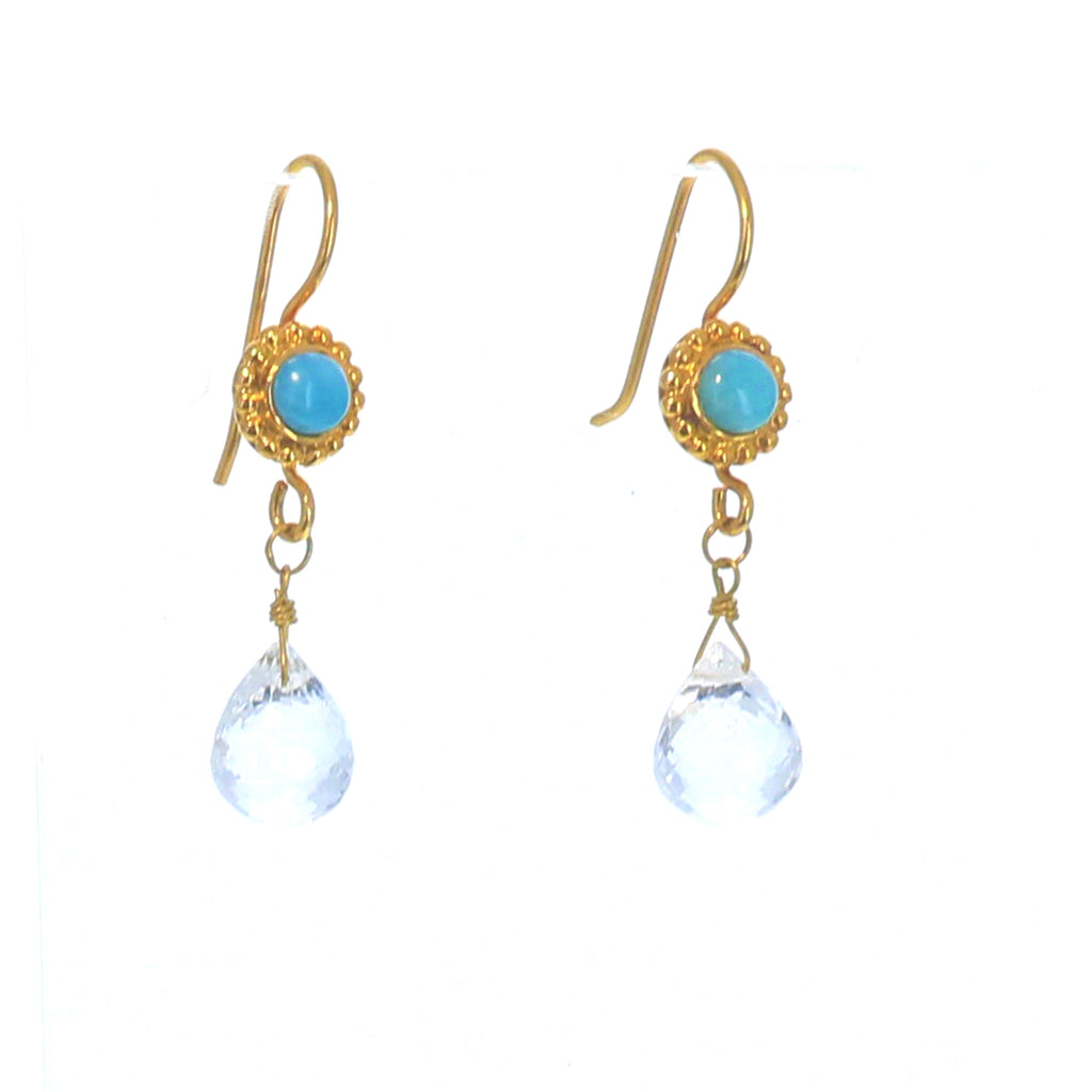 Caribbean Larimar Earrings 18K Gold with Faceted Crystal