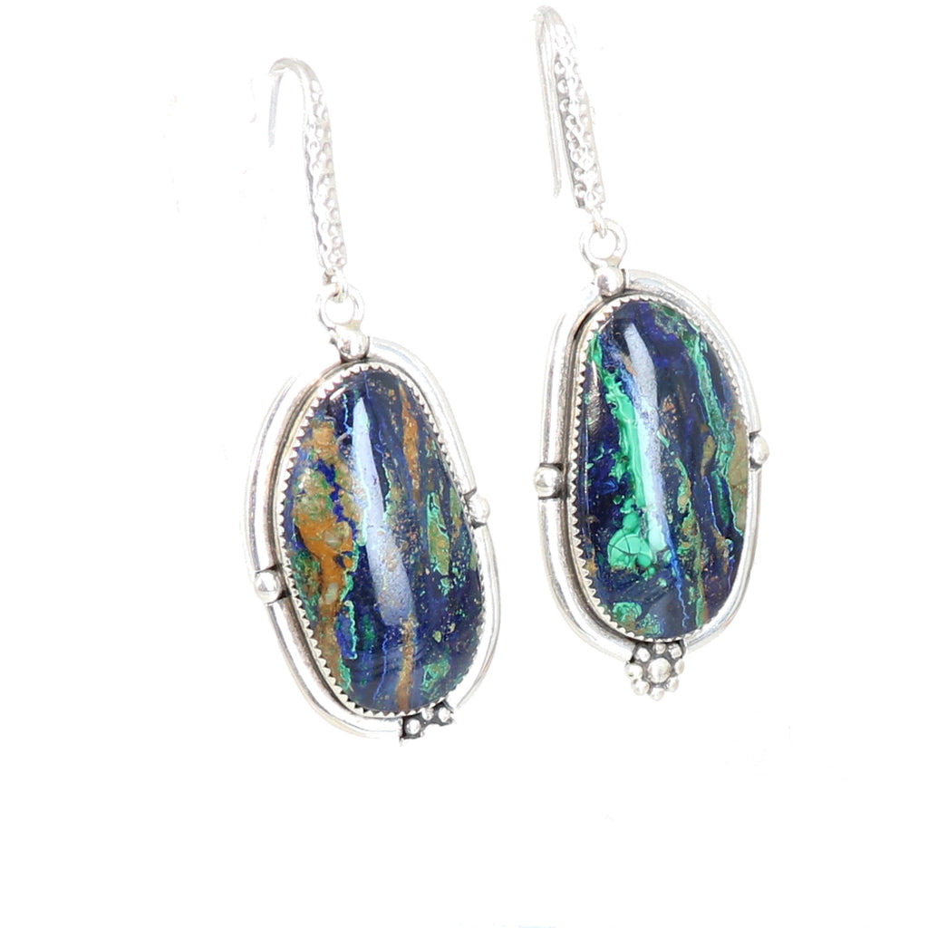AZURITE MALACITE EARRINGS Sterling Southwest Style Large