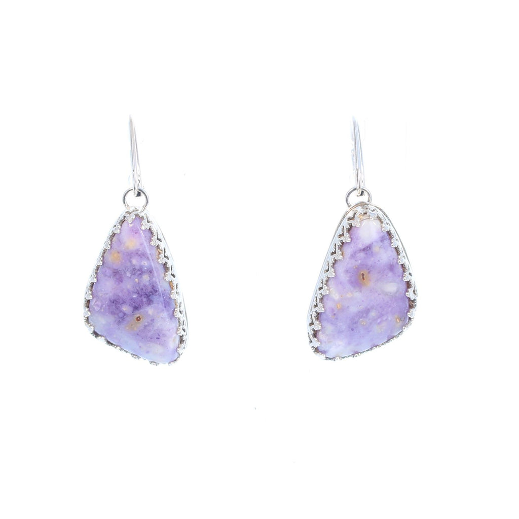 Lavender Mexican Opal Earrings Sterling Triangle Shaped #2