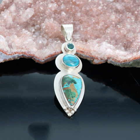 CHRYSOCOLLA Gem Silica Pendant Sterling Silver