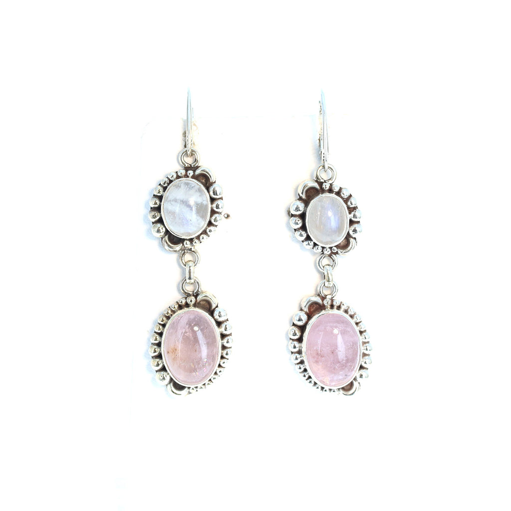 Rainbow MOONSTONE and Pink Morganite Earrings Elegant 2.5""
