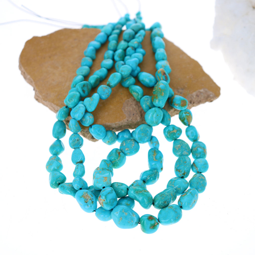 TURQUOISE MOUNTAIN BEADS Potato Shaped Blue Golden 7-15mm