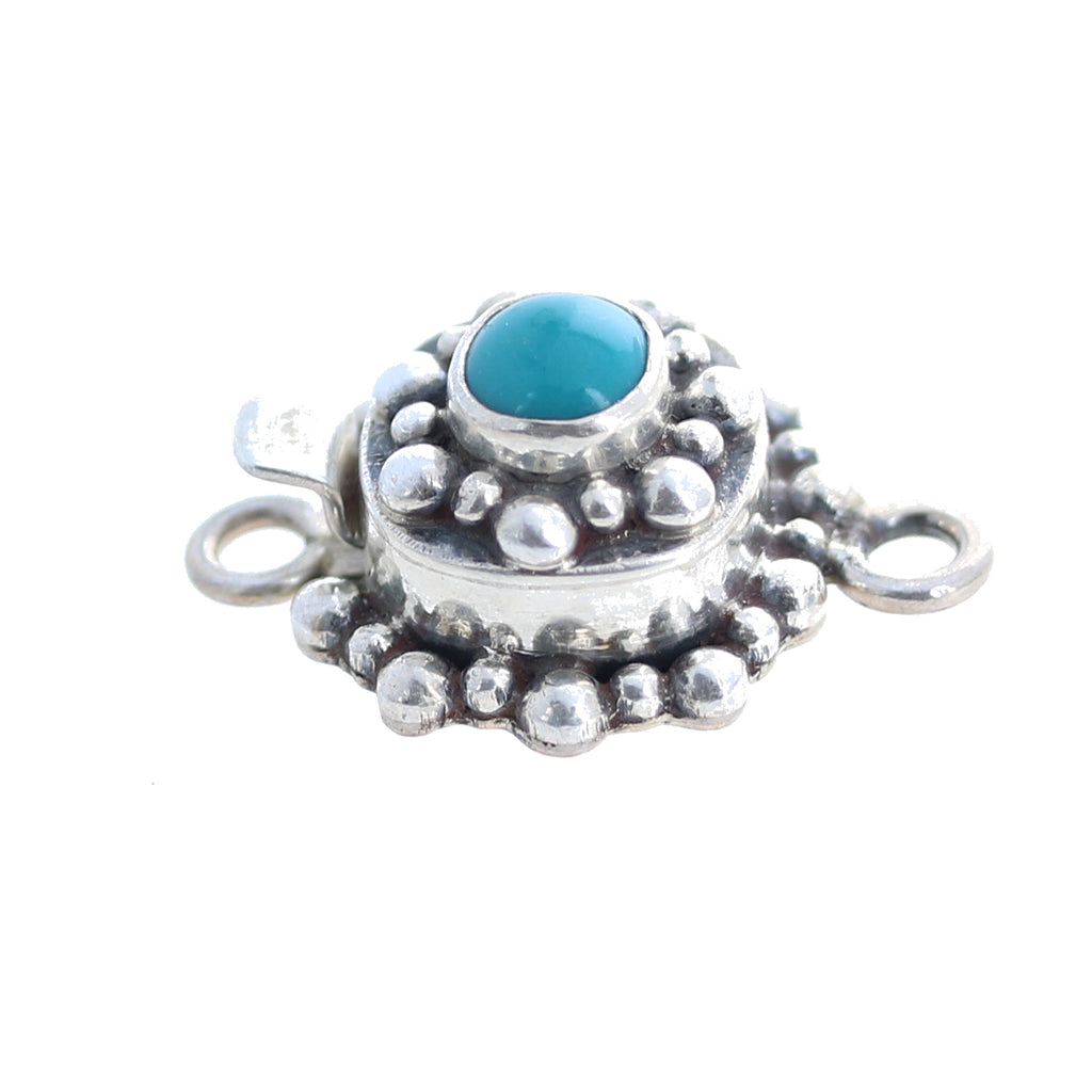 Fox Turquoise Clasp Decorative Sterling 6mm Cushion