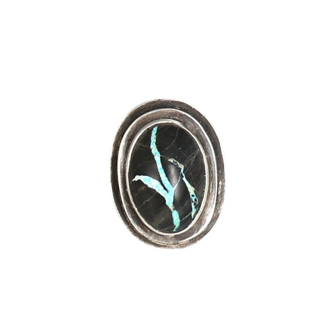 BLUE Moon Turquoise Ring Sterling Silver Size 7 Large Oval