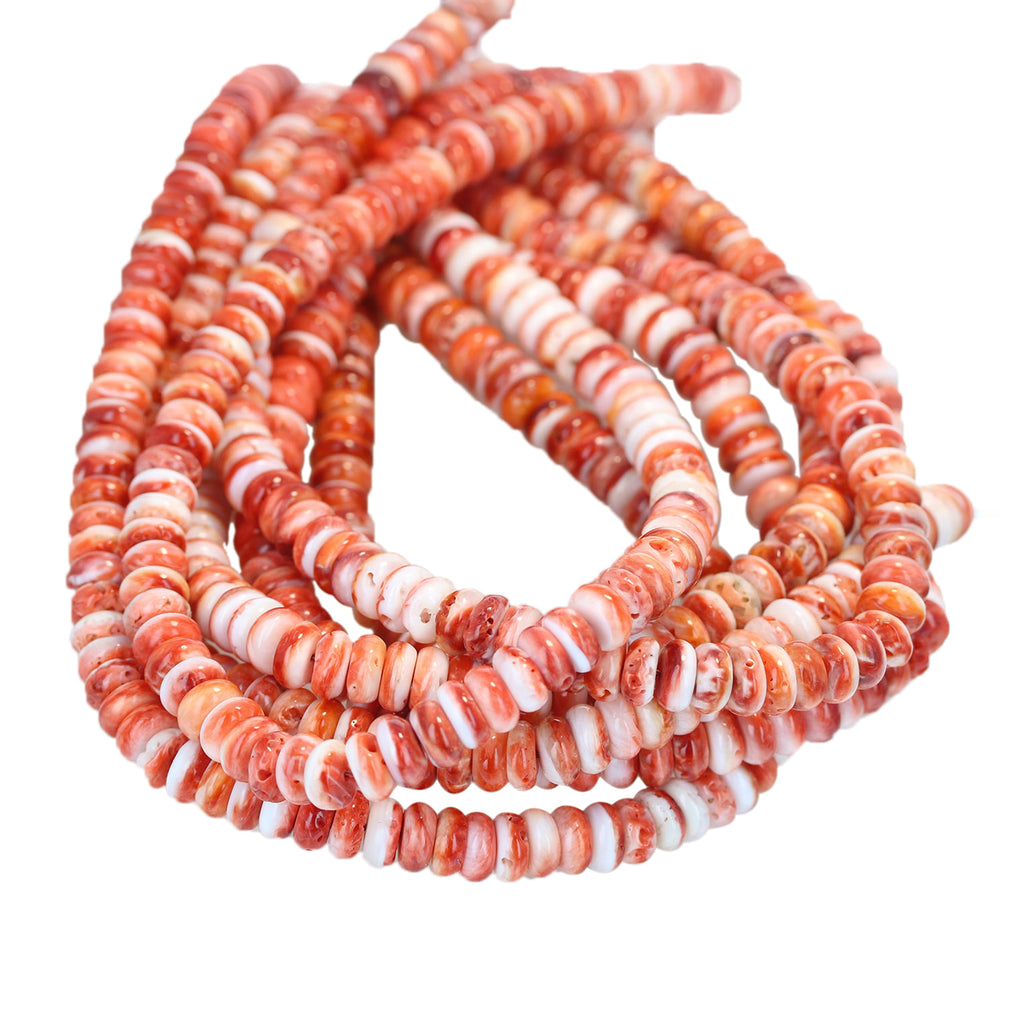 Red Orange SPINY OYSTER Beads Rondelles 8mm 16""
