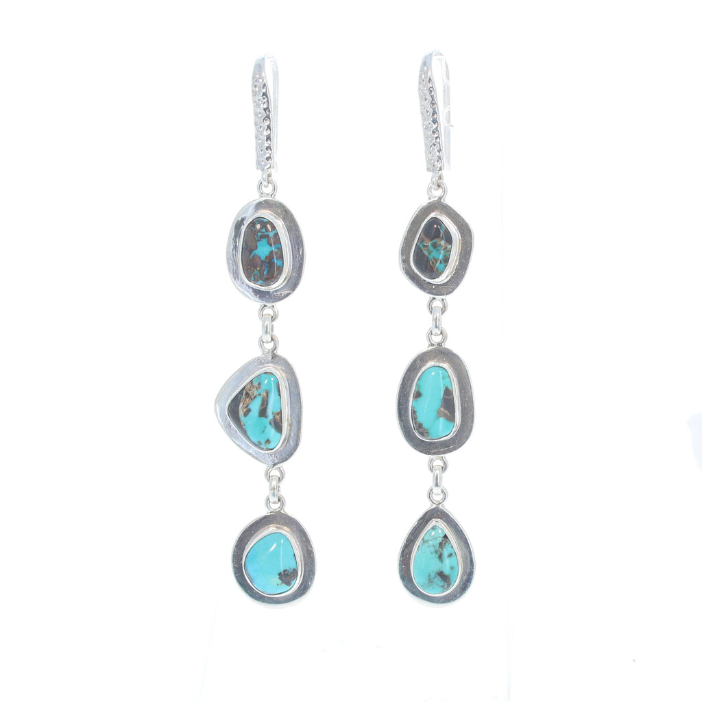 Blue Melody CARICO LAKE Turquoise Earrings 3 Stone Sterling