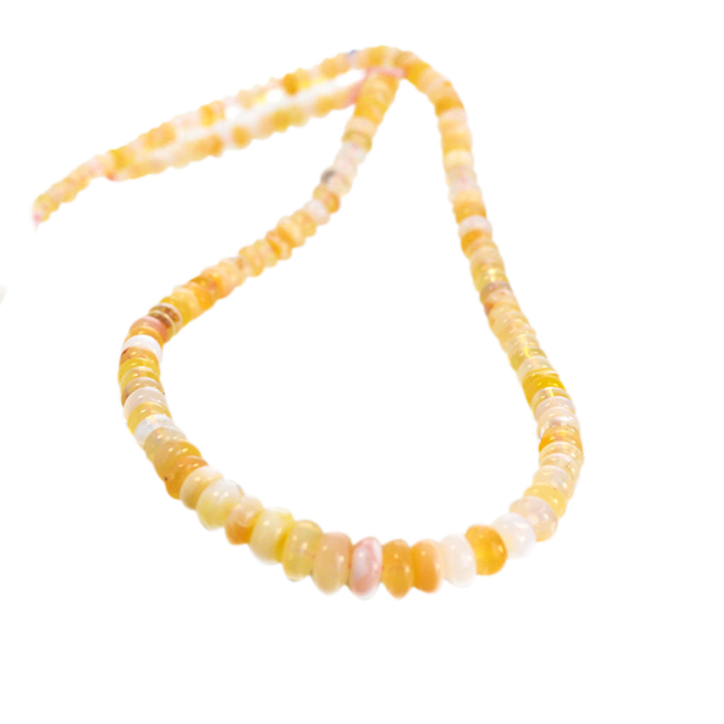 MEXICAN OPAL BEADS Rondelles Light Cream Apricot 4-7.5mm