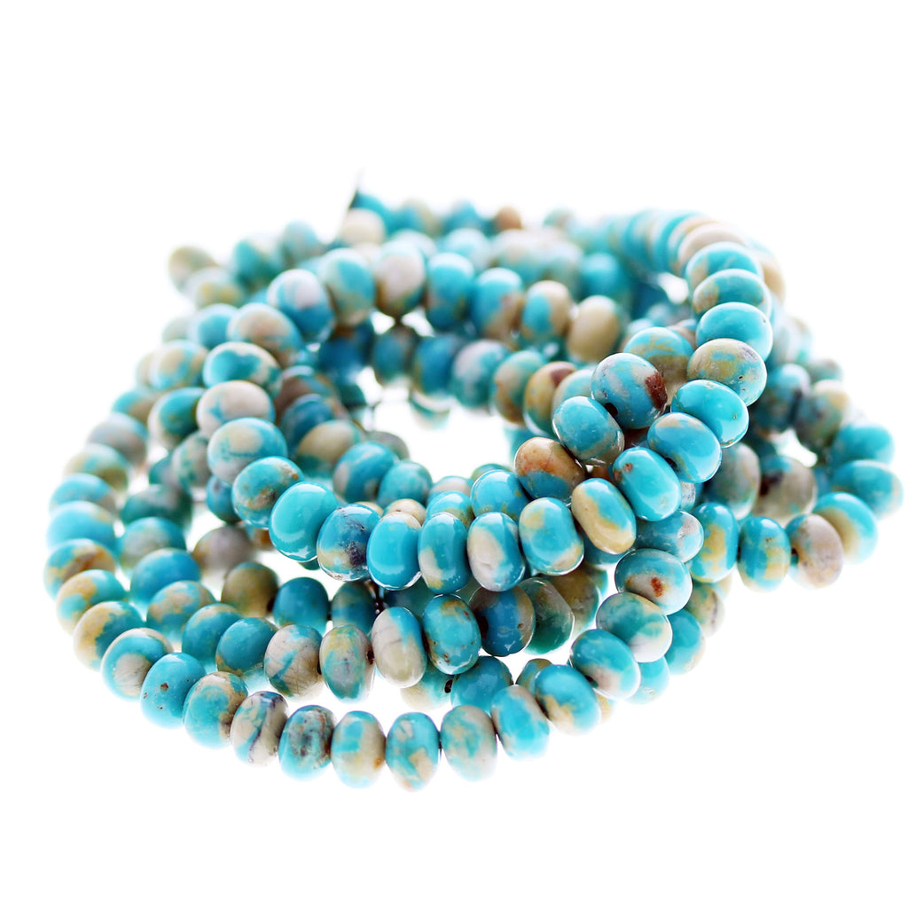 FOX MINE AMERICAN TURQUOISE BEADS Teal Golden Rondelle 6mm