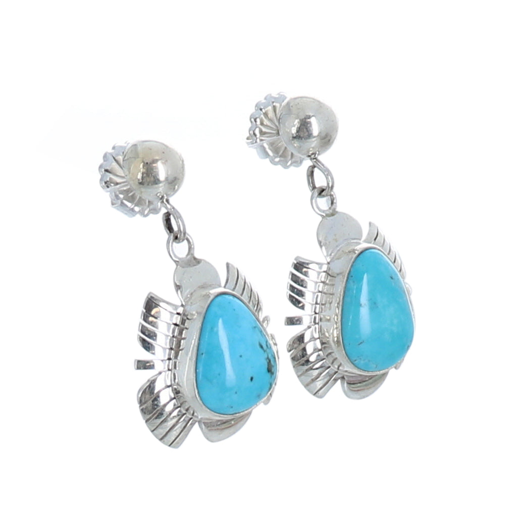 Beautiful Sky Blue KINGMAN MINE Turquoise Earrings Feathered #4