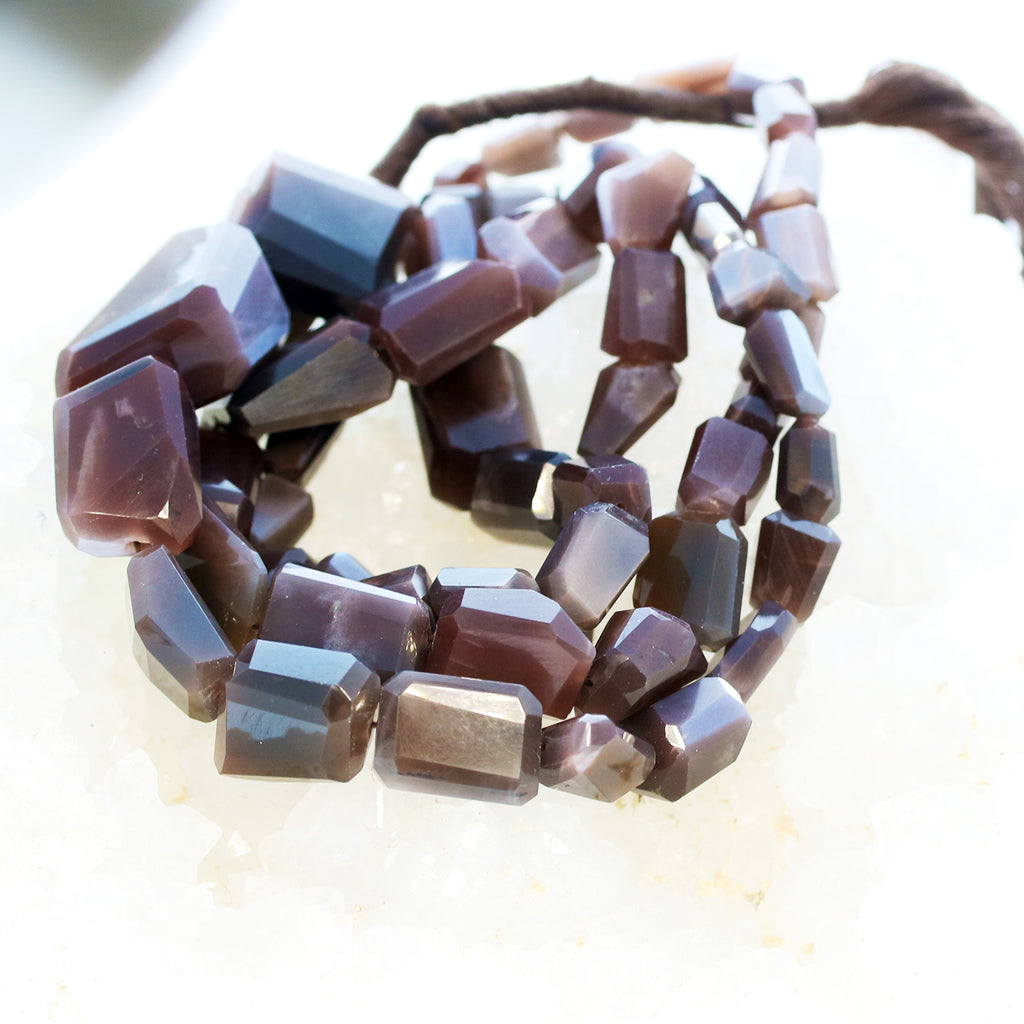 MOONSTONE BEADS Chocolate Faceted Free Form Large