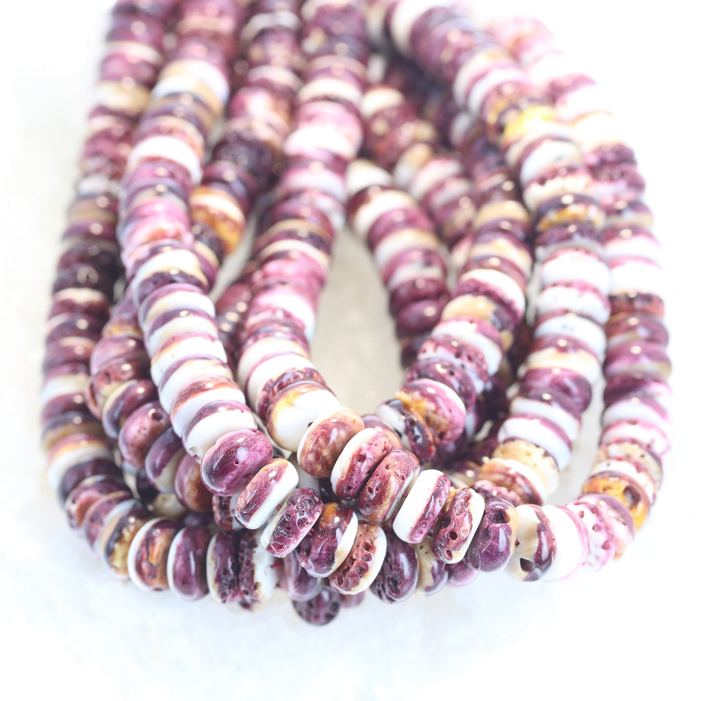 PURPLE SPINY OYSTER Beads Rondelles 10mm 16""