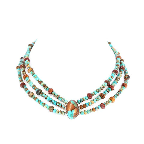 FOX and ROYSTON TURQUOISE Necklace 3 Strand 17-19""