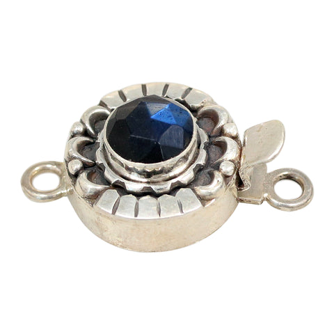 LABRADORITE CLASP Moon Petal Design Faceted Rose Cut Blue Black 8mm