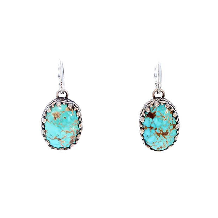 CARICO LAKE TURQUOISE Earrings Sterling Silver Sky BlueOvals