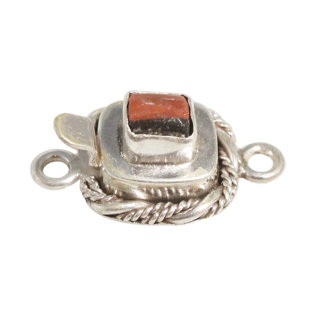 ANTIQUE ROMAN GLASS Sterling Silver Clasp Twist Wire Black Red Small