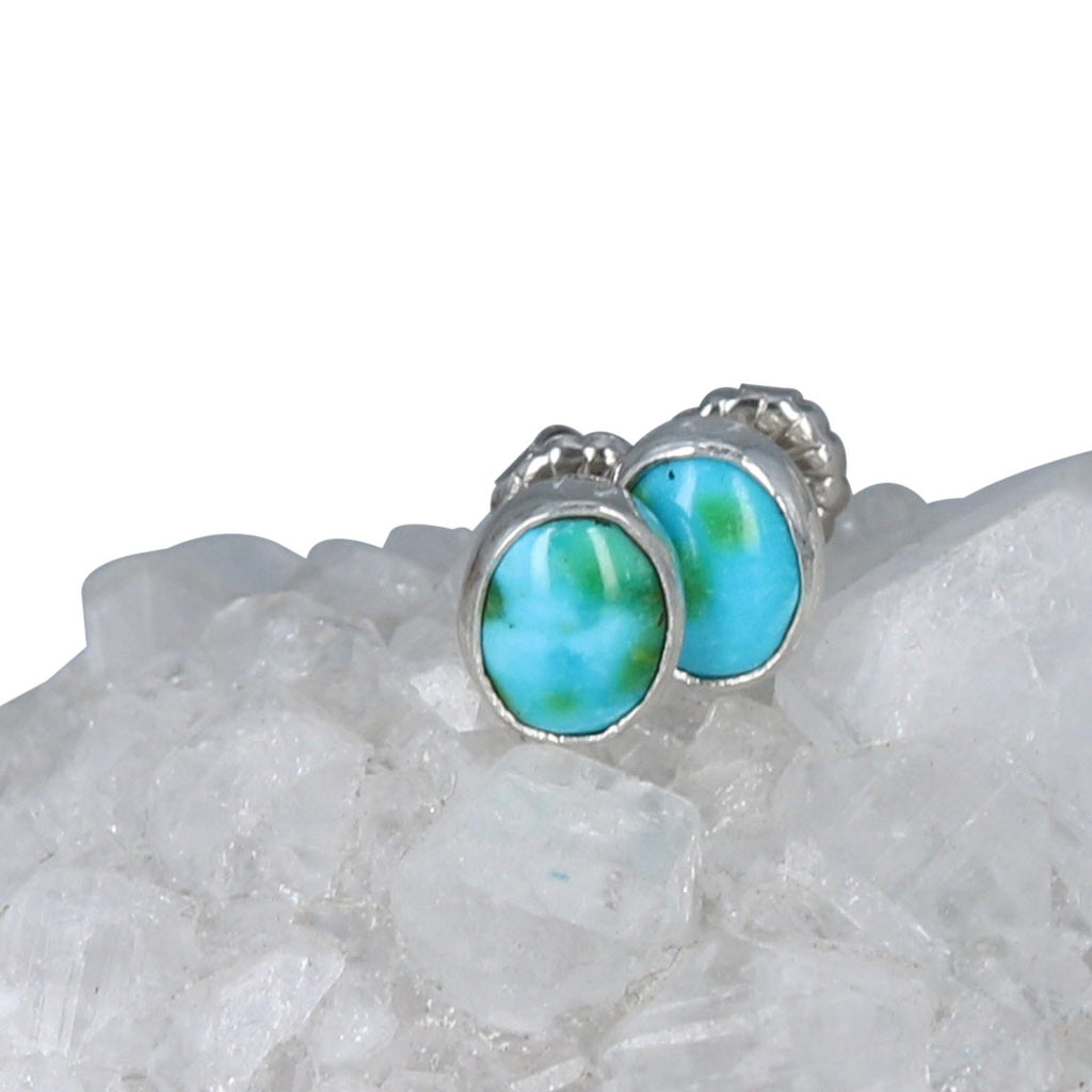 Sonoran Gold Turquoise Earrings Lime Green Blue Sterling Oval Posts