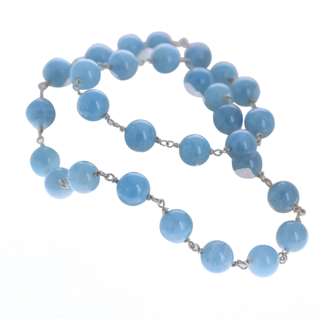 AQUAMARINE BEADS Necklace Chain Sterling