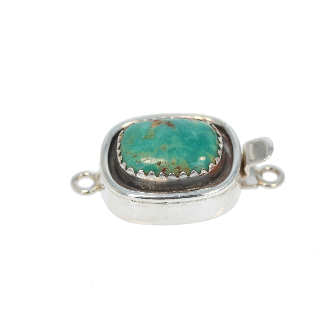 Fox Turquoise Clasp Teal Cushion 16.5x13mm